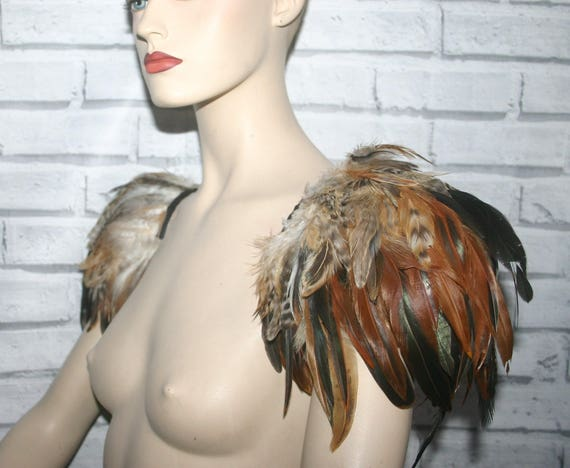 GOTHIC BROWN FEATHER epaulettes , brown feather wings, brown feather shoulders, steampunk feather shoulders. steampunk, feather wings.