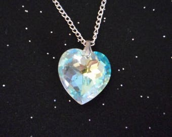 Crystal Heart Pendant - Aurora Borealis Heart Pendant On Silver Chain