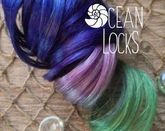 Blue hair, IN STOCK, Green hair, Purple hair, Ombre Hair Extensions, Hair extensions clip in,Human Hair Extensions, Single clip in