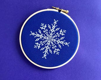 Christmas cross stitch kit, snowflake cross stitch kit, blue decor, 5 inch hoop, diy xmas gift, diy gift, craft kit gift, easy cross stitch