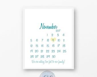 Custom Colors Pregnancy calendar announcement- DIGITAL FILE -Announcement card- Photo Prop- gender reveal