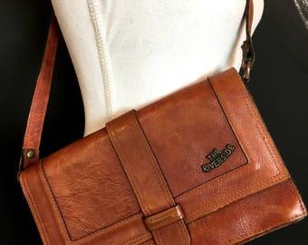 80s riverside leather shoulder  bag / brown leather bag / 80s bag / elegant bag