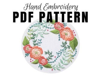 Digital Hand Embroidery Pattern: Delicate Roses, Needlepoint Design, Digital Download PDF, Modern Contemporary Embroidery DIY Directions