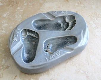 Similac baby feet ashtray, advertising ashtray, ceramic ashtray with baby feet, growth chart, pediatrician office decor, weird ashtray