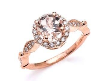 Morganite / Engagement / Halo / Diamond / 14k / Rose Gold / 7mm / Round / Peach / Morganite / Pave / Ring