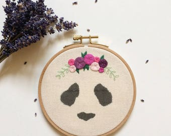 """Wall embroidery """"Panda with flowers"""""""