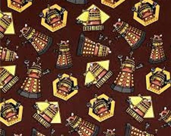 "Doctor Who Exterminate on Brown by Springs Creative fabric, 43"" wide, 100% cotton, by the half yard"
