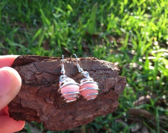 Rose bead spiral earrings