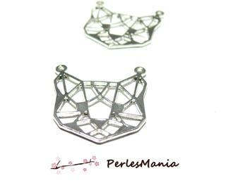 1 pendant, 26mm (S1182686) bright silver cat charm