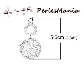 1 double pendant LACY 56mm silver plate (S1185632)