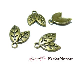 10 charms double leaf pendant Bronze 2W6510 for jewelry making