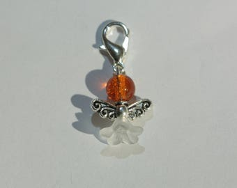 Charm / charm with mini-fermoir / hook and his mini Angel orange eyeball nursing or other