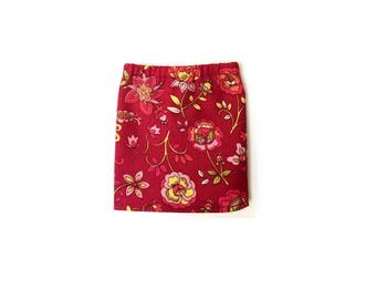 Pencil Skirt, Mini Skirt, Floral, Burgundy Red, Pink, Yellow, Fits dolls such as AG, Wellie Wishers, 14 inch Doll Clothes, 14.5