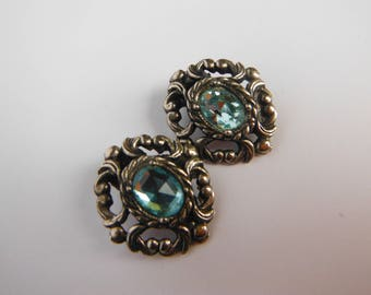 Vintage Antiqued Silvertone, Aquamarine Glass, Clip On Earrings