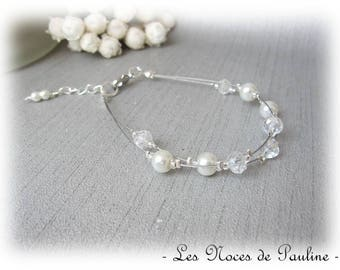 Wedding ivory and Crystal two row Marjorie collection 'Tradition' bracelet
