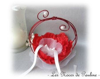 "Ring bearer red and white wedding rings ""Scrolls"" simple version"