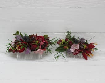 Burgundy pink flower comb Floral comb Flower accessories Bridal Bridesmaid headpiece Burgundy wedding Floral hair accessory Exotic flowers