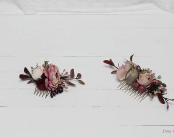 Floral accessories Bridal comb Bridesmaid headpiece Flower girl Fall wedding Woodland  Floral comb Hairpins Pink brown beige Hairpiece