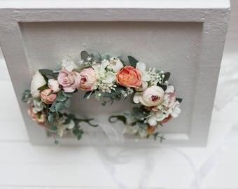 Romantic flower crown Blush pink peach headpiece Bridal headband Wedding hair wreath Maternity crown Bridesmaid floral crown Boho wedding