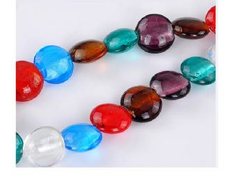 Set of 10 lampwork beads in mixed colors 20 mm x 9 mm