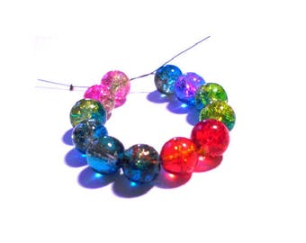 Set of 50 cracked two-tone 8 mm colorful glass beads