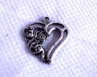 Carved heart 20 mm x 20 mm antique silver charm