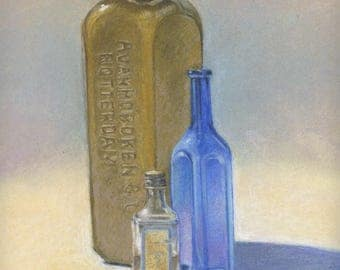Old Gin and Others, pastel drawing on paper, still life