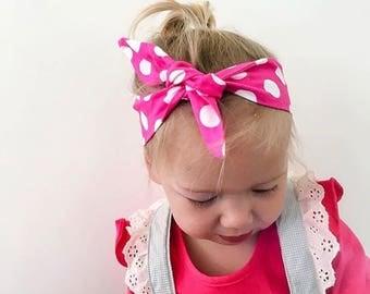 pink topknot headband bow girls toddler baby newborn kids hairbow accessories