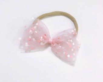 The ivy Bow• Ballerina bow headband hair accesories Baby toddler Girls hairclips nylon nude headband newborn kids hairbow accessories
