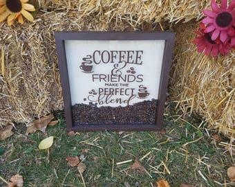 Coffee & Friends Make the Perfect Blend Custom Made Shadow Box