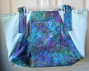 Watercolor/Mint Tote Bag 13 x 24 inches