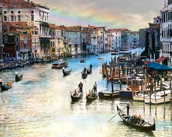 Venice Italy, Grand Canal,  Gondola, Venice Canal, Canal Scene, Canal Print, Venice Art, Grand Canal Photo, Travel Decor