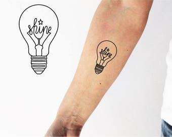 2 light bulb temporary tattoo / word tattoo / artistic tattoo / fine line tattoo / light tattoo / small tattoo / fun tattoo / edison tattoo
