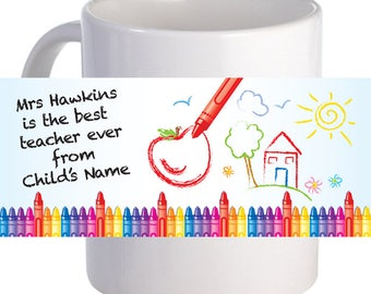 Best Teacher Coffee Mug With Custom Printed Name Message & Graphics