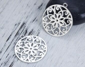 5 pendants style Mandala / Buddhist openwork Metal Silver 2.8 cm / Zen Collection