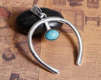 """Large pendant """"Horseshoe / Turquoise"""" Silver 7.7 cm"""