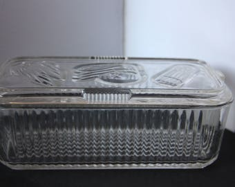 Vintage Ribbed Glass Refrigerator Storage Container, Glass Refrigerator Storage, Vintage Glass Kitchen Container, Federal Glass, Depression