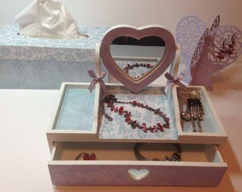 Box with mirror and decorations