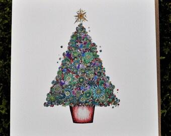 Christmas Tree Greeting card 6 x 6''