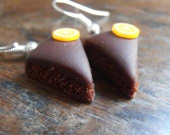Dangle earrings - chocolate cake