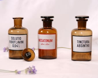 Collectible medicine bottle set of 3 pharmacy bottle with lid.Apothecary jar Antique medical amber decor Pharmacist gift Bathroom decor