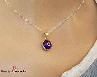 Sterling Silver Evil Eye Necklace, Protection Jewelry, Blue Evil Eye Pendant, Tiny Evil Eye, Turkish Evil Eye, Minimalist Silver Chain Eye