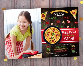 Pizza Birthday Invitation with/without photo. Pizza Birthday Party Invitation. Pizza Invitation. Pizza Party. Pizza Birthday Invite Digital