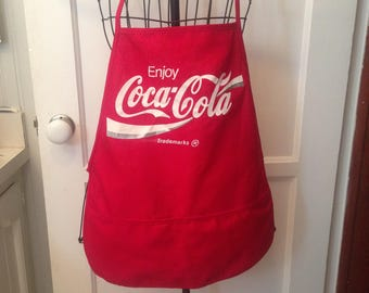 """Vintage Trademark Coca-Cola Chef's Apron-Solid Red With The Following Lettering In White & Silver:""""Enjoy Coca-Cola Trademarks"""""""