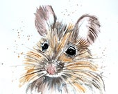 Mouse Watercolor Print of Original Painting, Watercolor Mouse painting, Mouse Painting