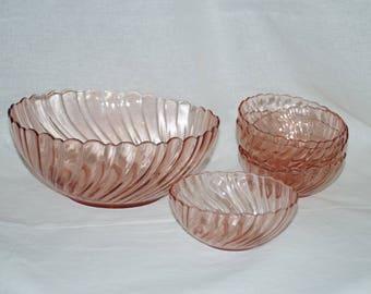 "Vintage Arcoroc Pink Swirl Bowl set - ""Rosaline"""