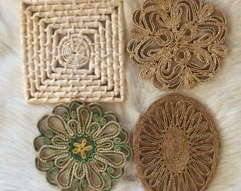 vintage straw trivets, old trivets, bohemian wall art, or use as hot plate, earth tones, natural materials, straw