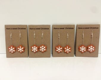 Gingerbread Snowflake Earrings