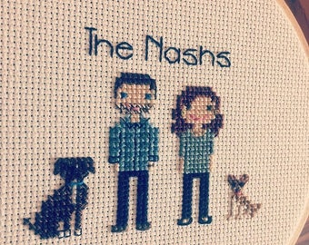 Custom Family Portrait - Hand Stitched Personalized Portrait - Cross Stitch Family Illustration - Embroidered Family Portrait