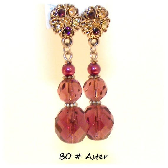 Earrings # dangling # creation unique # Crystal Austrian # studs rhinestone # aster # dollydoo # passionately # unique gift